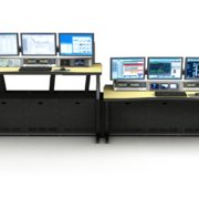 ControlTrac - Process Control Console (CT-E 3+3) - 3 monitor bridge, 4 RU rack turrets, and Custom Linoleum Top with black urethan edge.