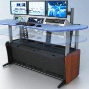 ControlTrac Console 3 bay (CT-E 3)- 3 monitor bridge, 4 RU rack turrets, and Custom blue plexi counter top.