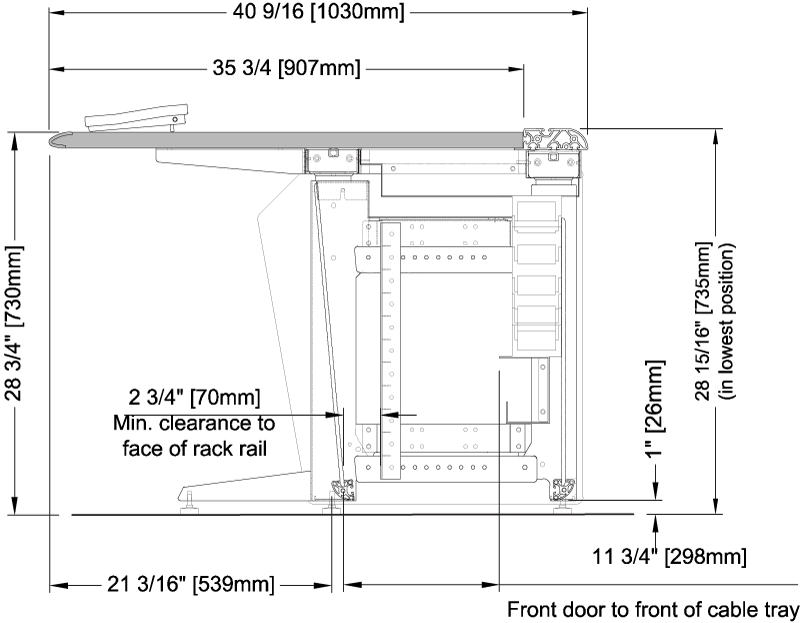 E Series Base Frame with Optional Rack Rail