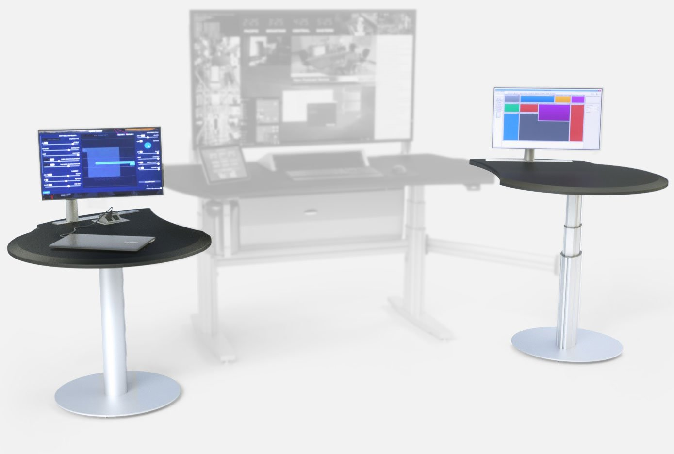 Fixed Height Side Table SC-PTL (left), Standard TBC Console ST2-1T (center), Height-Adjustable Side Table SCE-PTR (right)