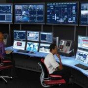 ControlTrac - Process Control Console (CT-E 3+3+3) - 6 monitor bridge, and custom blue plexi counter.