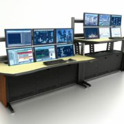 ControlTrac Technical Furniture, quad screen with drop wells