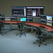 3 position linked SmartTrac with curved desktop