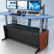 ControlTrac Console 3 bay (CT-E 3)- 3 monitor bridge, 4 RU rack turrets, and Custom blue plexi counter top.